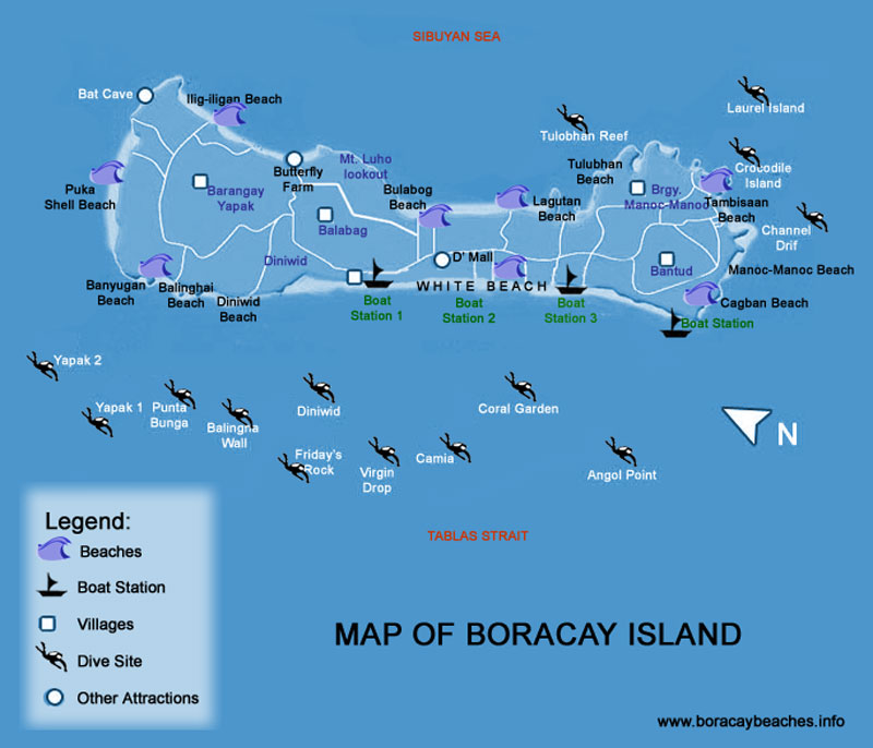 Boracay Map | Dive Sites | White Beaches